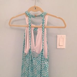 Strappy Teal Dress with Floral Print